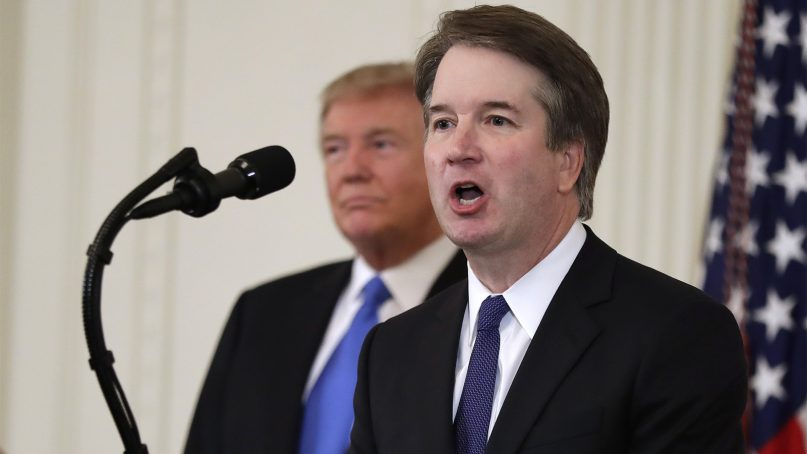 President Donald Trump listens as Judge Brett Kavanaugh, his Supreme Court nominee, speaks in the East Room of the White House on July 9, 2018, in Washington.  (AP Photo/Evan Vucci)