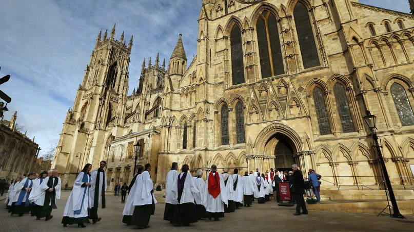 Members of the clergy enter York Minster for a special service in York, northern England, on Jan. 26, 2015. Photo by Phil Noble/Reuters