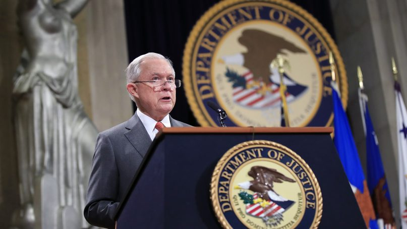 """Attorney General Jeff Sessions speaks during a Religious Liberty Summit at the Department of Justice on July 30, 2018. Sessions says there's a """"dangerous movement"""" to erode protections for Americans to worship and believe as they choose. (AP Photo/Manuel Balce Ceneta)"""