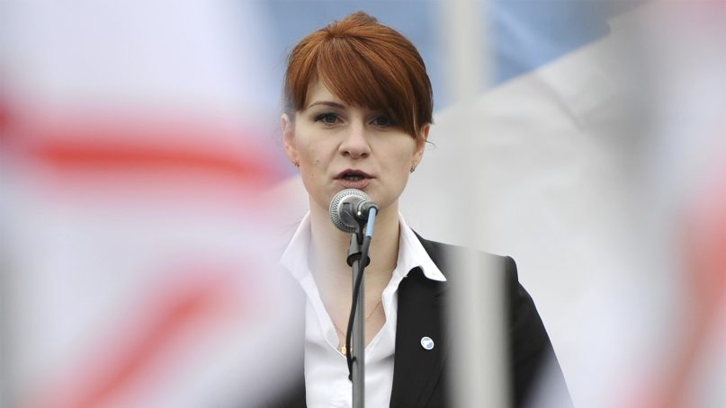 Mariia Butina, leader of a pro-gun organization in Russia, speaks to a crowd during a rally in support of legalizing the possession of handguns in Moscow, on April 21, 2013. Butina, a 29-year-old gun-rights activist, served as a covert Russian agent while living in Washington, gathering intelligence on American officials and political organizations and working to establish back-channel lines of communications for the Kremlin, federal prosecutors charged July 16, 2018. (AP Photo)