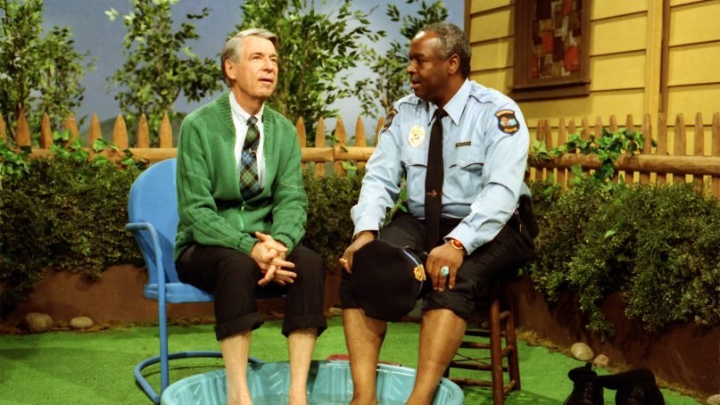 Fred Rogers, left, with Francois Scarborough Clemmons on the show