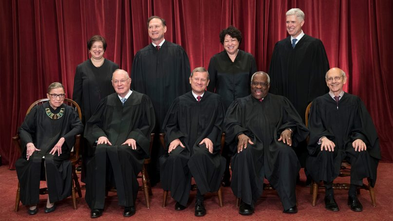 The justices of the U.S. Supreme Court gather for an official group portrait to include new Associate Justice Neil Gorsuch, top row, far right, at the Supreme Court Building in Washington on June 1, 2017. Seated, front row, from left, are Associate Justice Ruth Bader Ginsburg, Associate Justice Anthony M. Kennedy, Chief Justice John Roberts, Associate Justice Clarence Thomas and Associate Justice Stephen Breyer. Back row,  from left, are Associate Justice Elena Kagan, Associate Justice Samuel Alito Jr., Associate Justice Sonia Sotomayor and Gorsuch. (AP Photo/J. Scott Applewhite)