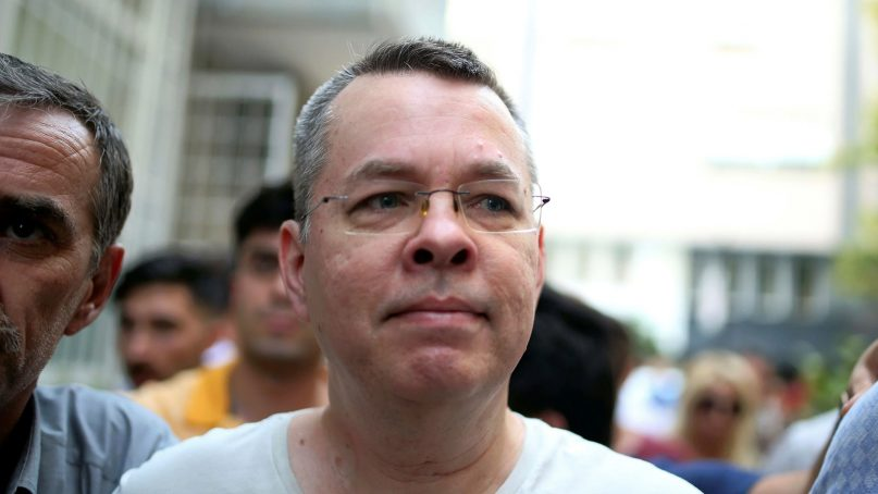 Andrew Craig Brunson, an evangelical pastor from Black Mountain, N.C., arrives at his house in Izmir, Turkey, on July 25, 2018. (AP Photo/Emre Tazegul)