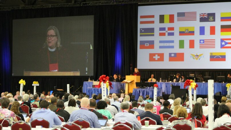 The Rev. Gay Clark Jennings, the president of the House of Deputies, presides over that house at the 2015 General Convention of the Episcopal Church in Salt Lake City. Photo courtesy of the Rev. Brian Baker