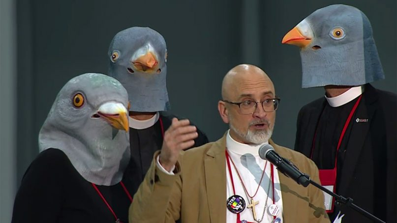 People wear pigeon masks in the closing days of the 79th General Convention following the popularity of the General Convention Pigeon at the 2018 triennial Episcopal meeting in Austin, Texas. Photo courtesy of Episcopal News Service