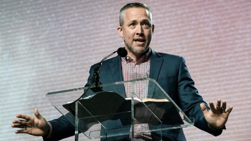 J.D. Greear speaks during the Pastor's Conference on June 11, 2018, at the Kay Bailey Hutchison Convention Center in Dallas. Photo by Marc Ira Hooks via Baptist Press