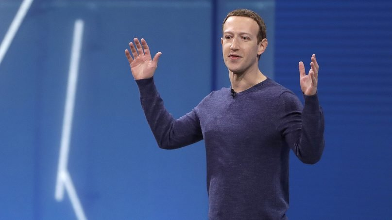 Facebook CEO Mark Zuckerberg gives the keynote address at F8, Facebook's developer conference in San Jose, Calif., on May 1, 2018. Remarks from Zuckerberg have sparked criticism from groups such as the Anti-Defamation League. Zuckerberg, who is Jewish, told Recode's Kara Swisher in an interview that although he finds Holocaust denial