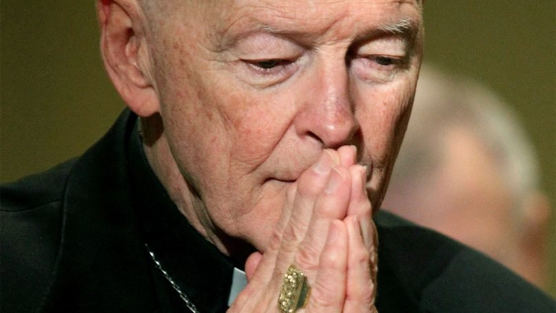 In this Nov. 14, 2011, file photo, former Cardinal Theodore McCarrick prays during the U.S. Conference of Catholic Bishops' annual fall assembly in Baltimore. (AP Photo/Patrick Semansky)