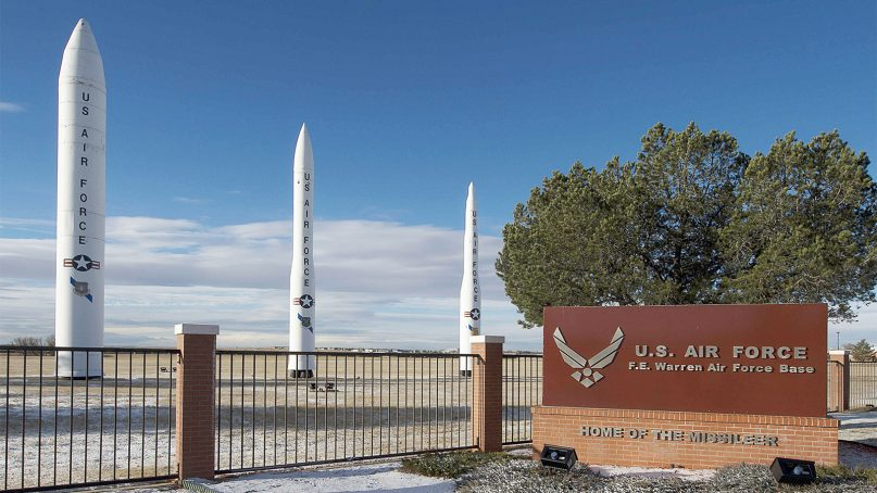The main entrance to the F. E. Warren Air Force Base in Cheyenne, Wyo. Photo courtesy Creative Commons