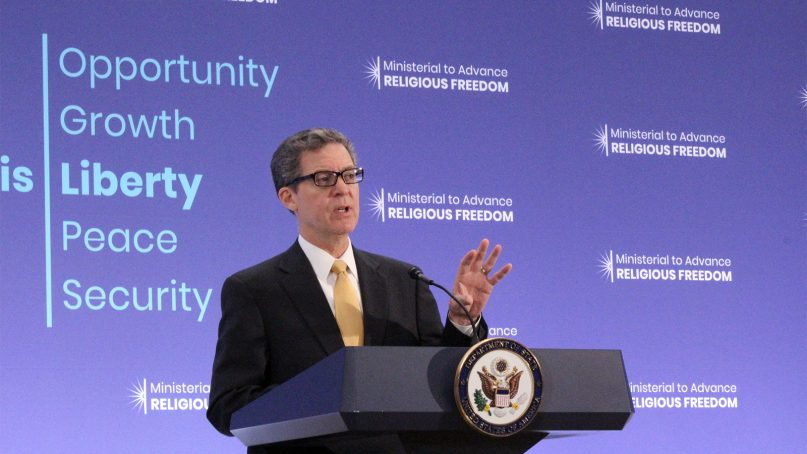 Ambassador-at-large for International Religious Freedom Sam Brownback delivers closing remarks at the Ministerial to Advance Religious Freedom at the U.S. Department of State in Washington, on July 26, 2018. RNS photo by Adelle M. Banks
