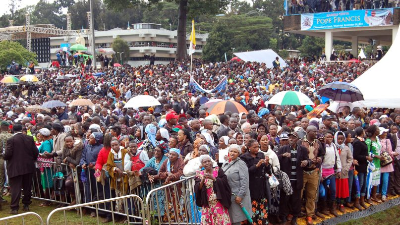 Thousands of Catholics sing as they wait to welcome Pope Francis to Nairobi, Kenya, on Nov. 24, 2015. Africa has traditionally been a deeply religious continent.  RNS photo by Fredrick Nzwili