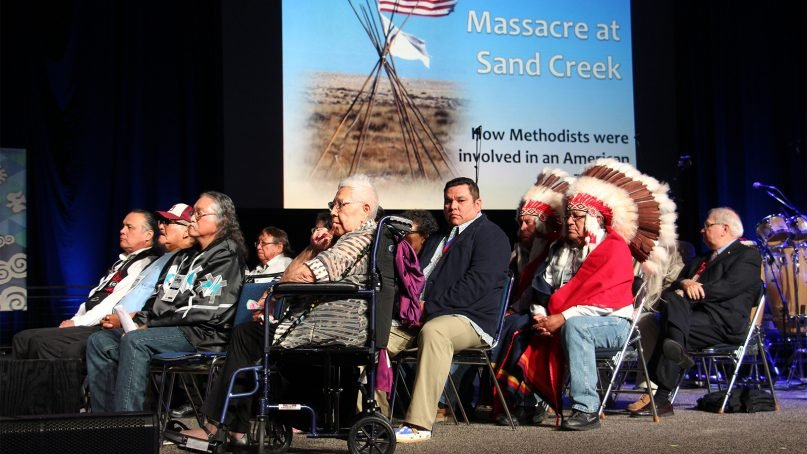 Descendants of the victims of the 1864 Sand Creek Massacre attend a ceremony in their honor during the United Methodist Church General Conference 2016 on May 18, 2016, in Portland. RNS photo by Emily McFarlan Miller