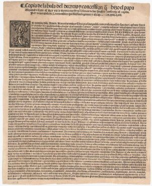 Pope Alexander VI's papal bull Inter Caetera from 1493. This papal bull gave Spanish explorers the freedom to colonize the Americas and to convert Native peoples to Catholicism. Image courtesy Library of Congress