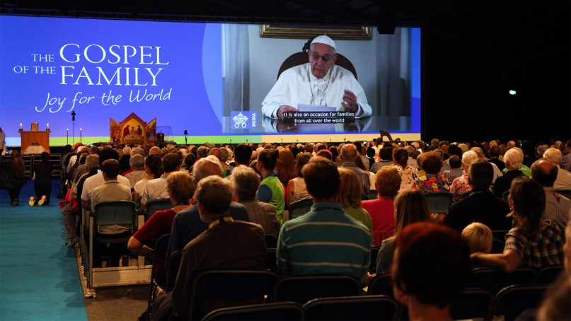 Pope Francis addresses the opening of the World Meeting of Families 2018 in Dublin, Ireland, via video on Aug. 21, 2018. Pope Francis will attend the event this weekend.  Photo by John McElroy on behalf of the WMOF 2018