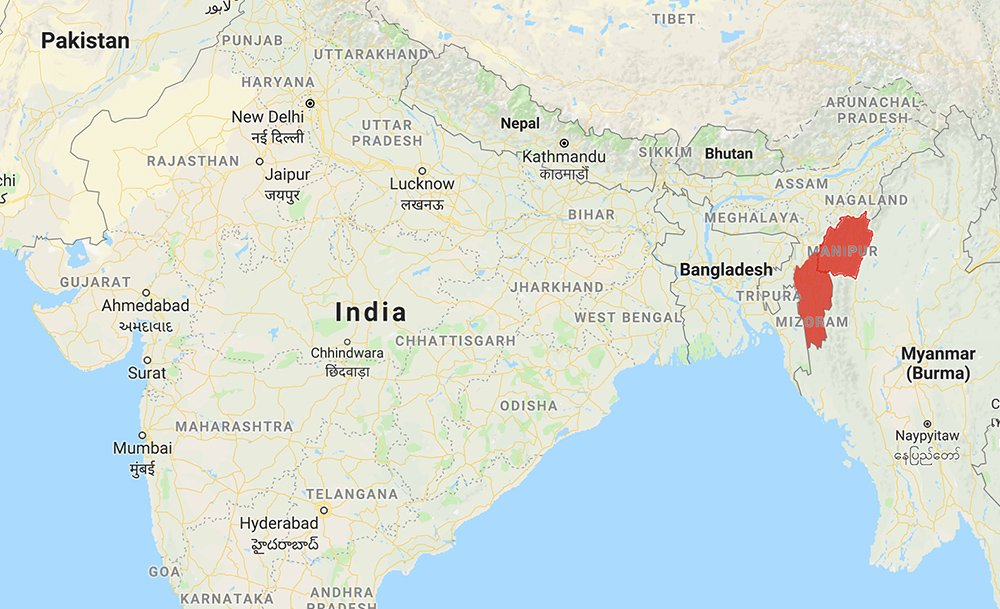 WEB Manipur and Mizoram in northeast India. Map courtesy ... on google maps united states, google maps uk, google maps murder, live indian map, google maps street view, google maps navigation, google maps logo, google maps icon, google maps find, google maps car, minecraft indian map,