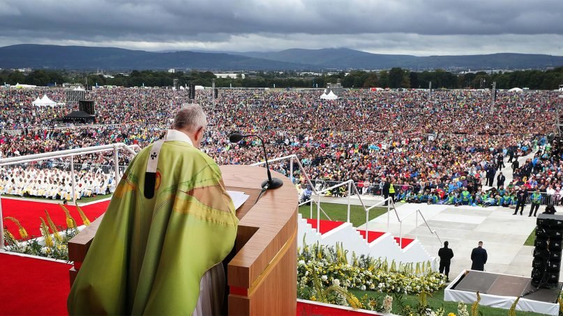 Pope Francis leads Mass at Phoenix Park in Dublin on Aug. 26, 2018, to close the World Meeting of Families 2018. Photo by Maxwell Photography/WMOF2018