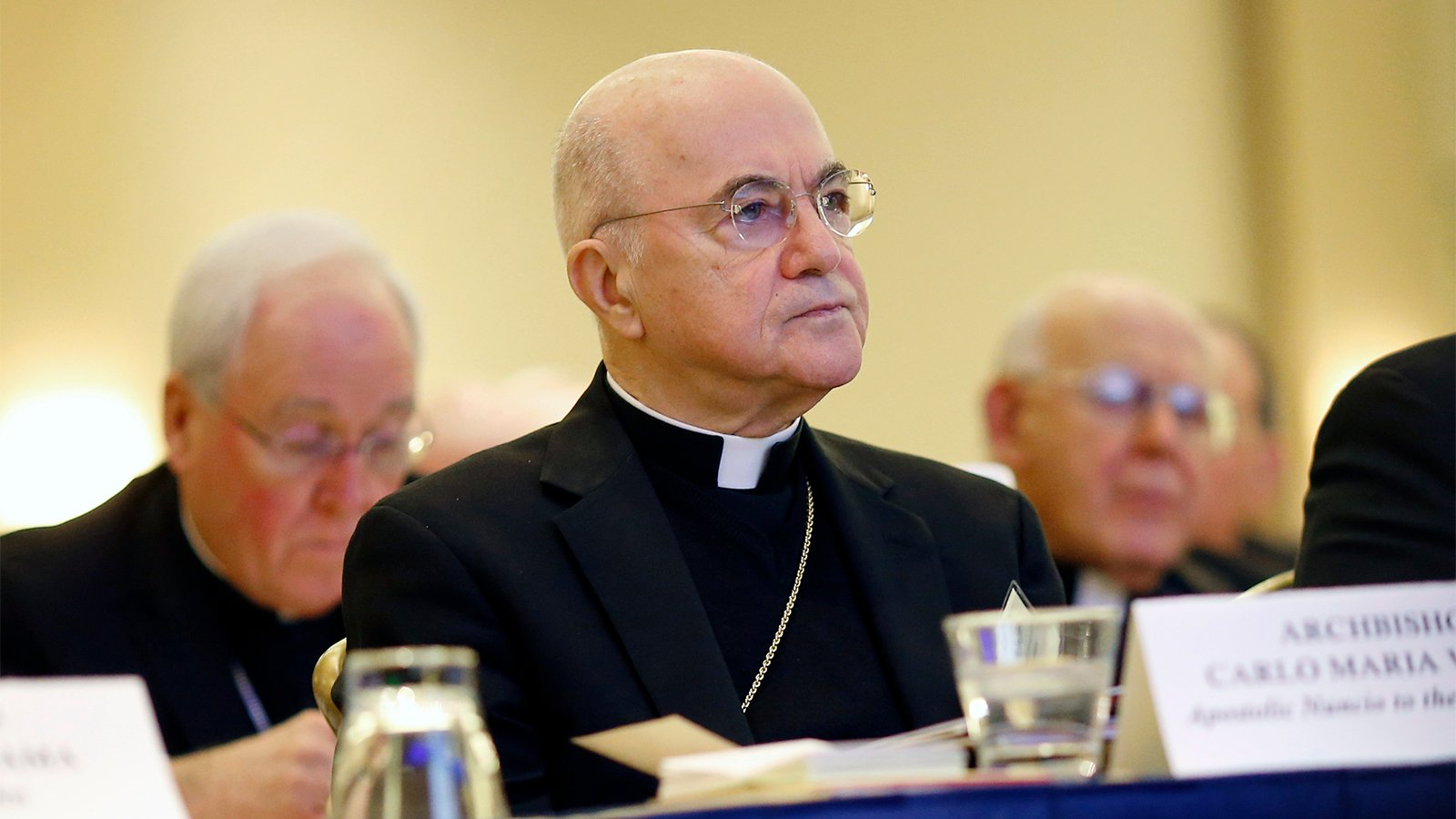 Archbishop Carlo Maria Viganò listens to remarks at the United States Conference of Catholic Bishops' annual fall meeting on Nov. 16, 2015, in Baltimore. (AP Photo/Patrick Semansky)