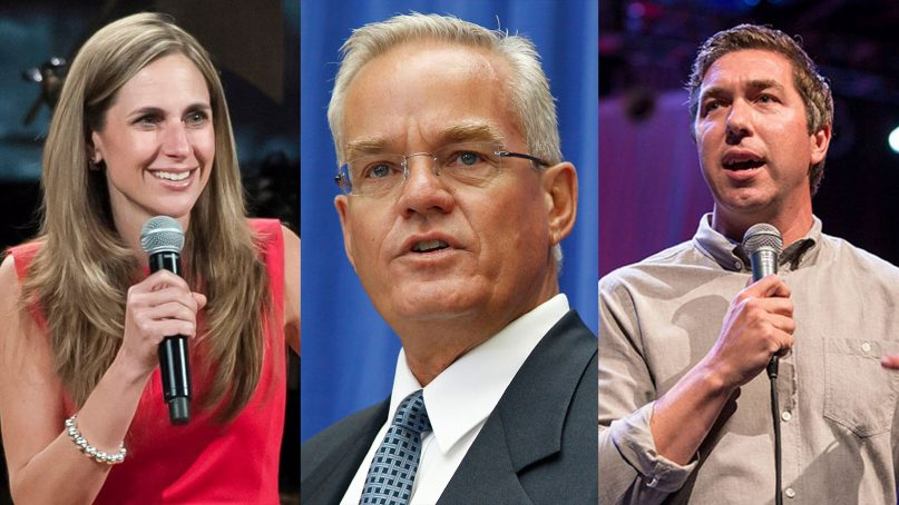 The Rev. Bill Hybels, center, and his two successors, lead pastor Heather Larson, left, and lead teaching pastor Steve Carter, right, of Willow Creek Community Church. (Larson and Carter photos courtesy Willow Creek Community Church; Hybels via AP/Charles Dharapak)