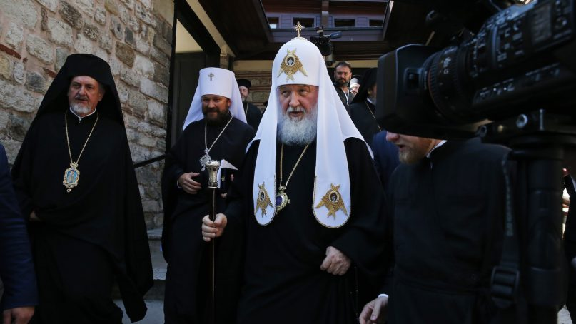 Patriarch Kirill of Moscow leaves after his meeting with Ecumenical Patriarch Bartholomew I, the spiritual leader of the world's Orthodox Christians, at the Patriarchate in Istanbul on Aug. 31, 2018. Bartholomew I is debating whether to accept a Ukrainian bid to tear that country's church from its association with Russia, a potential split fueled by the armed conflict between Ukrainian military forces and Russia-backed separatists in eastern Ukraine. (AP Photo/Lefteris Pitarakis)
