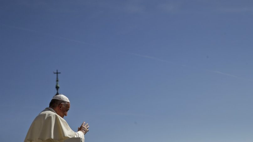 Pope Francis leaves at the end of his general audience in St. Peter's Square at the Vatican on Sept. 12, 2018. (AP Photo/Alessandra Tarantino)