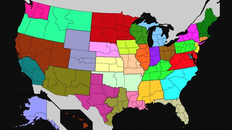 A map of the Roman Catholic ecclesiastical provinces of the United States. Each provinceis a separate color, with outlines of individual archdioceses and dioceses. Map courtesy of Creative Commons