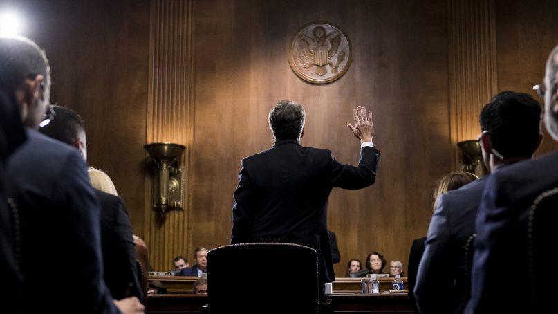U.S. Supreme Court nominee Brett Kavanaugh is sworn in before testifying during the Senate Judiciary Committee on Sept. 27, 2018, on Capitol Hill in Washington, D.C. (Tom Williams/Pool Image via AP)