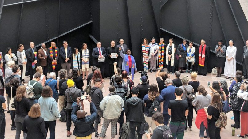 Faith leaders hold an interfaith vigil before the Senate Judiciary Committee's vote on Brett Kavanaugh's nomination to the U.S. Supreme Court on Sept. 28, 2018, in Washington, D.C. Photo by Megan Simons/Alliance for Justice