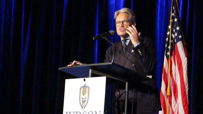 Eric Metaxas speaks at Judson University on Sept. 26, 2018, in Elgin, Illinois, near Chicago. RNS photo by Emily McFarlan Miller