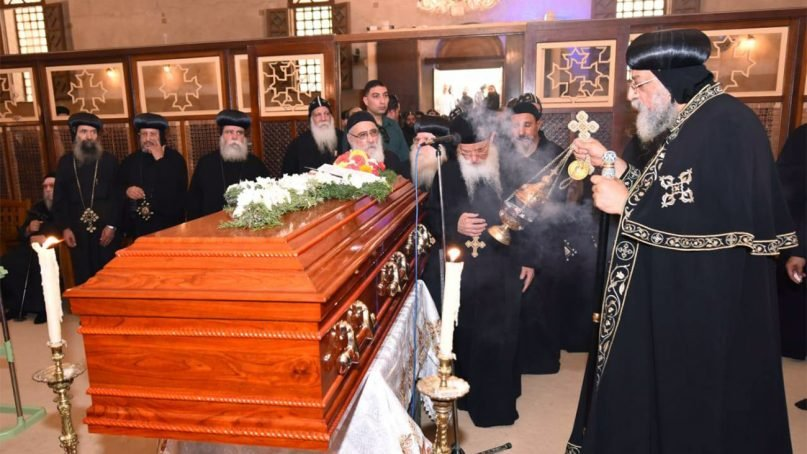 Pope Tawadros II, right, presides over the funeral of Bishop Anba Epiphanius at St. Macarius Monastery on July 31, 2018, in Wadi El Natrun, Egypt. Photo courtesy US-International Coptic Media Center
