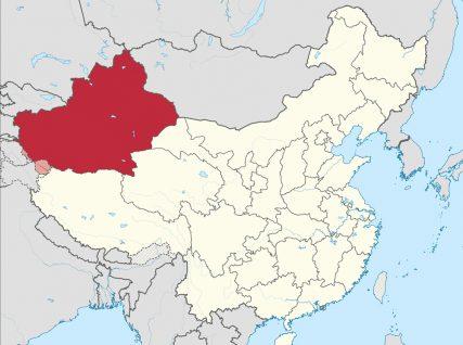 The Xinjiangprovince in western China where many Uighurs live. Map courtesy of Creative Commons