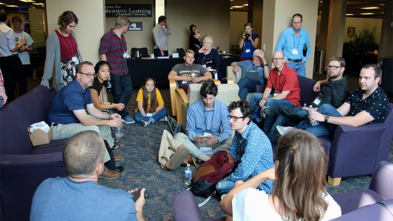 Attendees of the Christian Transhumanist Conference gather for a breakout discussion in Nashville, Tenn., on Aug. 25, 2018. RNS photo by Emily McFarlan Miller