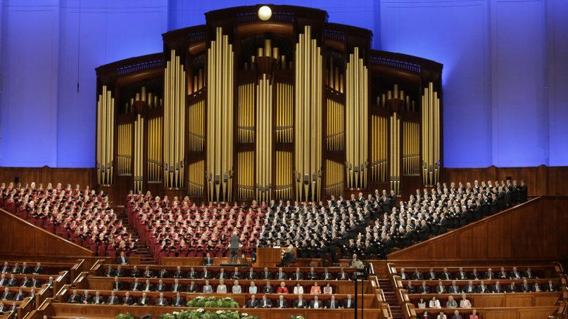 The Mormon Tabernacle Choir of the Church of Jesus Christ of Latter-day Saints performs during the annual church conference in Salt Lake City on April 1, 2017. (AP Photo/Rick Bowmer)