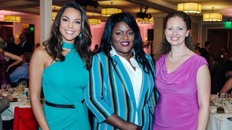 Layli Miller-Muro, right, founder and CEO of the Tahirih Justice Center, poses with actress Eva Larue, from left, and asylum recipient Aicha Abdoulaye Mahamane at a Tahirih gala fundraiser in Laguna Beach, Calif., in September 2018. Photo by Gabe Sullivan/Tahirih Justice Center