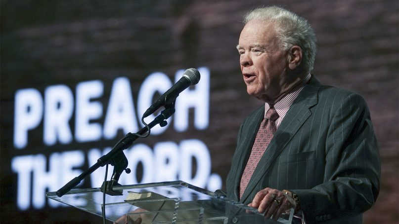 Paige Patterson gives a report June 14, 2017, during the Southern Baptist Convention annual meeting at the Phoenix Convention Center. Photo by Adam Covington/Baptist Press