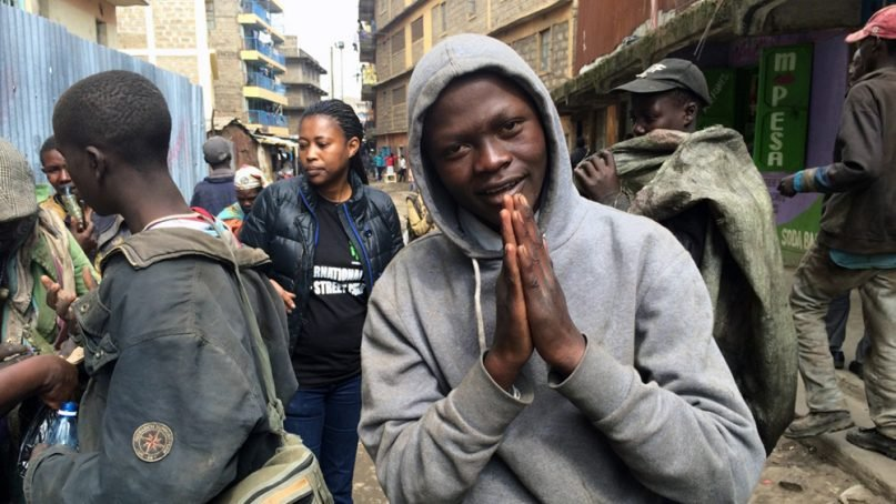 A Ugandan youth begs on the streets of Nairobi, Kenya, on Jan. 10, 2018. He came to Kenya in 2013 seeking work, but he ended up on the streets due to drug abuse. RNS photo by Doreen Ajiambo