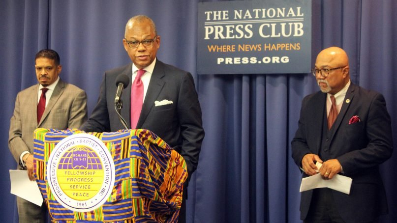 The Rev. Calvin Butts speaks during a news conference of the Progressive National Baptist Convention at the National Press Club, on Oct. 9, 2018, in Washington, D.C. RNS photo by Adelle M. Banks