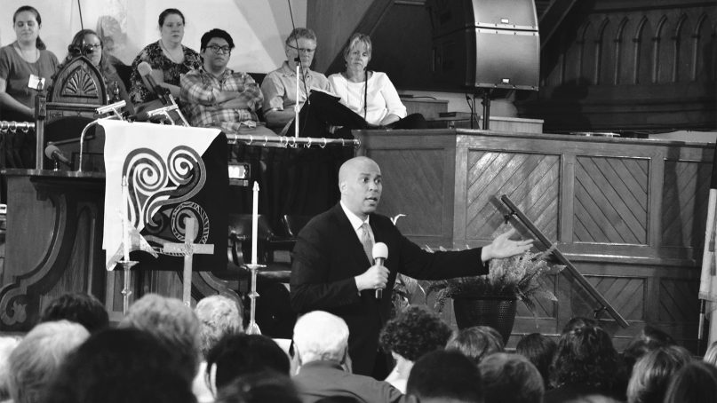 Sen. Cory Booker, D-N.J., speaks at the Festival of Homiletics on May 22, 2018, at Metropolitan AME Church in Washington. RNS photo by Jack Jenkins