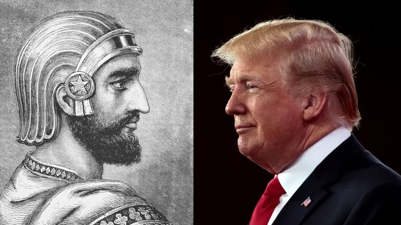 President Trump has been compared to Cyrus the Great, left. Images courtesy of Creative Commons