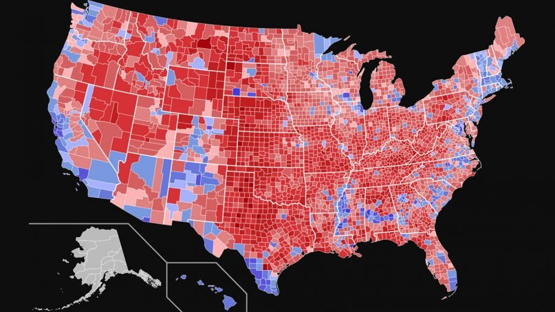 Nationwide map of 2016 U.S. presidential election results shaded by vote share in each county. Image courtesy of Creative Commons