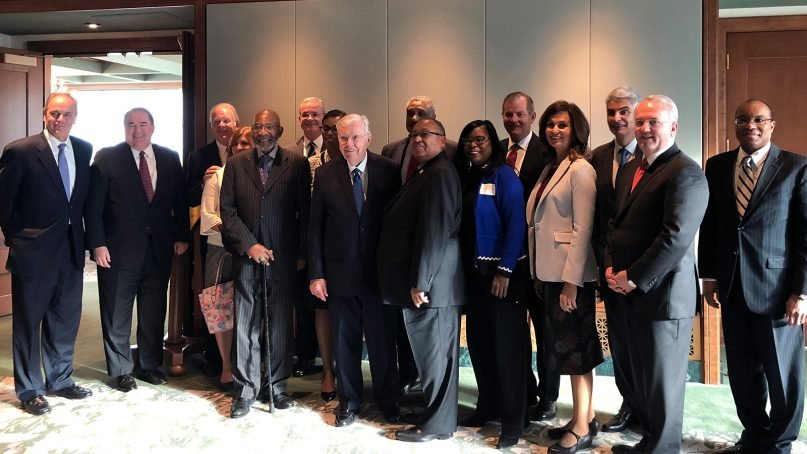 NAACP leaders join LDS church leaders on Temple Square in Salt Lake City for a breakfast meeting prior to the first session of the Church of Jesus Christ of Latter-day Saints' general conference on Oct. 6, 2018. ©2018 Intellectual Reserve Inc.