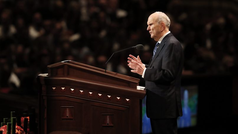 President Russell M. Nelson explains why the church's name is the Church of Jesus Christ of Latter-day Saints at the Sunday morning session of the 188th semiannual general conference on Oct. 7, 2018, in Salt Lake City.©2018 by Intellectual Reserve Inc.