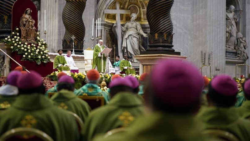 Pope Francis speaks during a Mass for the closing of the synod of bishops in St. Peter's Basilica at the Vatican, on Oct. 28, 2018. (AP Photo/Andrew Medichini)