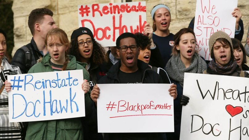 Wheaton College students protest the firing of Larycia Hawkins on the school's campus west of Chicago.  Photo courtesy of