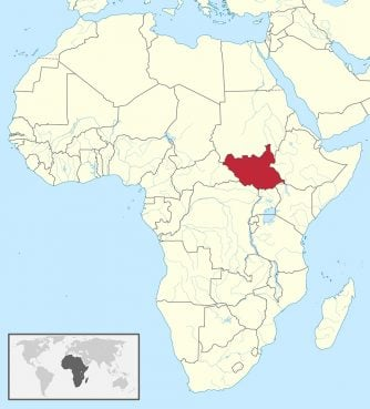 South Sudan, red, in central Africa. Map courtesy of Creative Commons