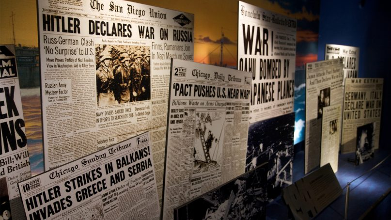 Examples of newspaper front pages during World War II in an exhibit at the Museum of Science and Industry in Chicago.  Photo by Marcin Wichary/Creative Commons