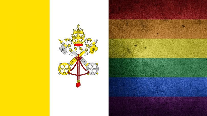 The Vatican City flag, left, and a pride flag. Images courtesy of Creative Commons