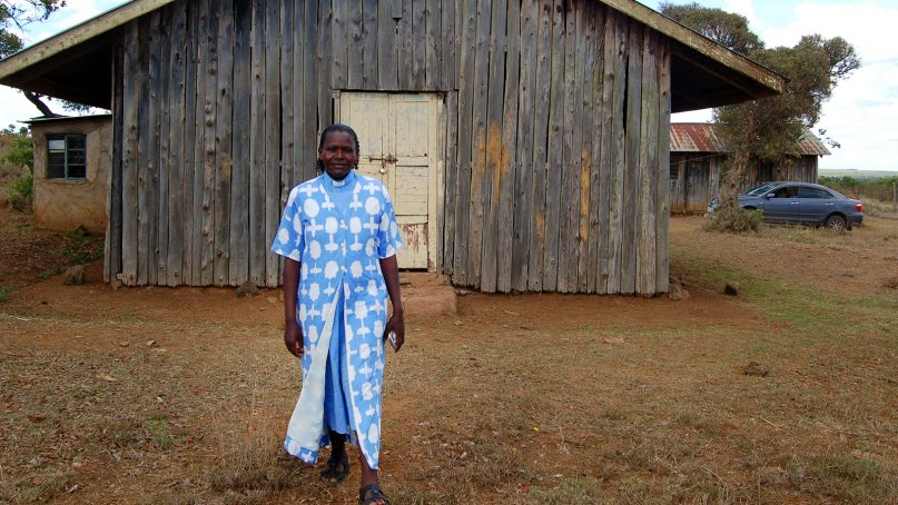The Rev. Rahab Wanjiru, an HIV-positive Anglican priest, frequently campaigns against HIV stigma in central Kenya. Wanjiru was photographed outside her church in Laikipia County, central Kenya, on Dec. 27, 2016. RNS photo by Fredrick Nzwili