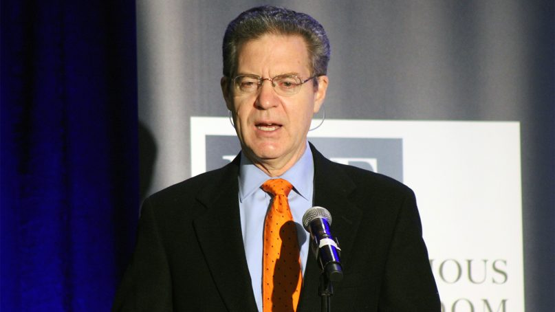 Sam Brownback, U.S. ambassador-at-large for international religious freedom, speaks at an event commemorating the 20th anniversary of the International Religious Freedom Act on November 9, 2018, in Washington. RNS photo by Adelle M. Banks