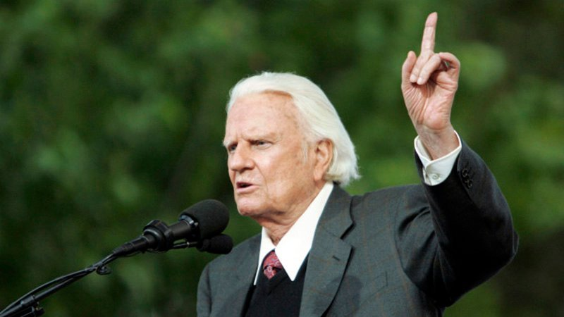 Billy Graham speaks during the Billy Graham Crusade at Flushing Meadows Corona Park in Queens, N.Y., on June 25, 2005. RNS photo by John O'Boyle/The Star-Ledger