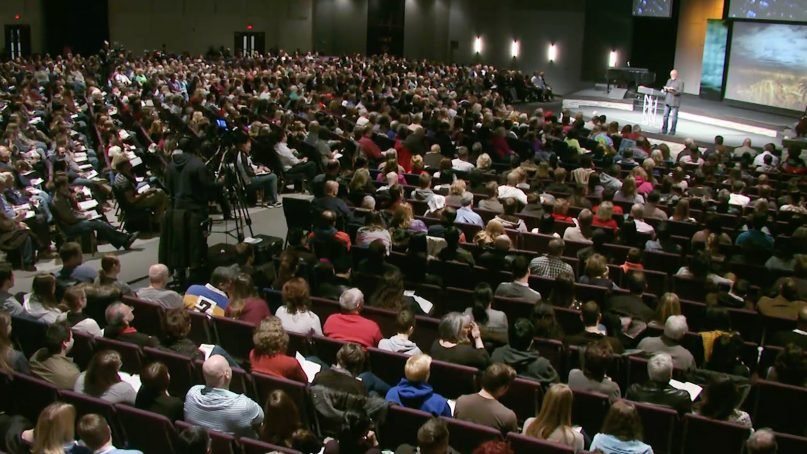James MacDonald, top right, preaches at Harvest Bible Chapel in an undated video. Video screengrab via Harvest Bible Chapel